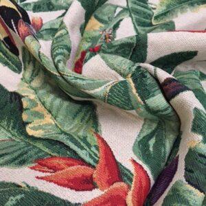 Møbelstof med mønster. Tocan og blomster