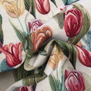 Møbelstof med mønster af tulipaner