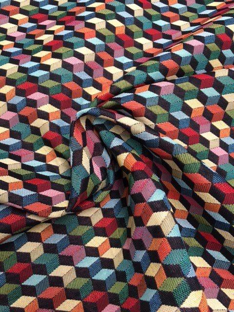 Mønstret møbelstof i 3D med mange farver