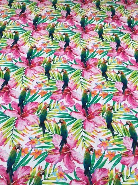 Mønstret bomuld med papegøjer fra Skumhuset