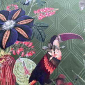 Møbelvelour - Tukan og blomster