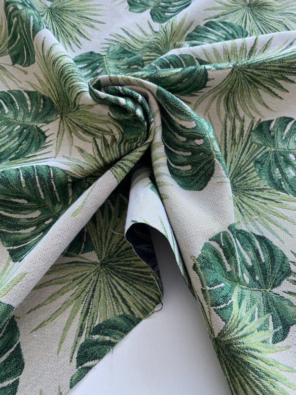 Møbelstof med grønne blade